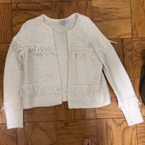 Kensie knit jacket w fringe. Super soft